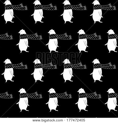 Cartoon polar bear pattern with sweet bear in scarf. Cute vector black and white polar bear pattern. Seamless monochrome polar bear pattern for fabric, wallpapers, wrapping paper and web backgrounds.