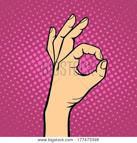 Hand showing ok deaf-mute gesture human arm hold communication and direction design fist touch pop art style colorful vector illusstration. Forefinger unity point showing.