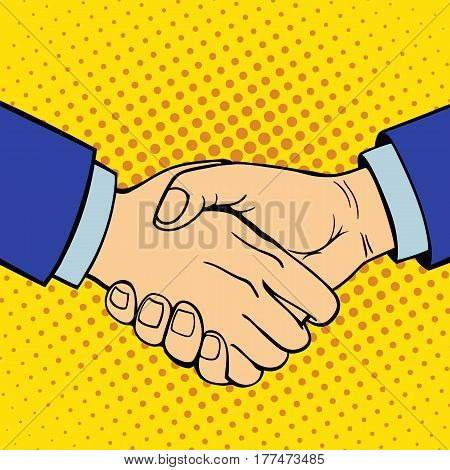 Hand showing handshake deaf-mute gesture human arm hold communication and direction design fist touch pop art style colorful vector illusstration. Forefinger unity point showing.