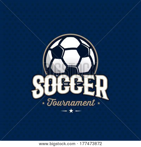 Modern professional soccer tournament logo with ball. Sport badge for team, championship or league. Vector illustration.