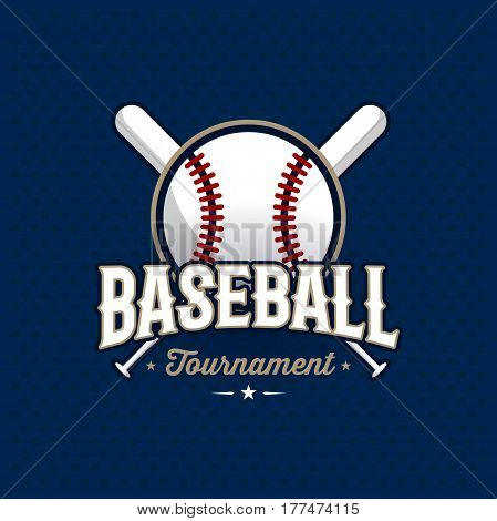 Modern professional baseball tournament logo with ball. Sport badge for team, championship or league. Vector illustration.
