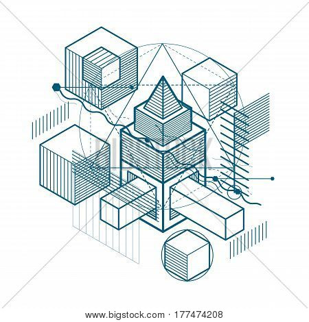Abstract Isometrics Background, 3D Vector Layout. Composition Of Cubes, Hexagons, Squares, Rectangle