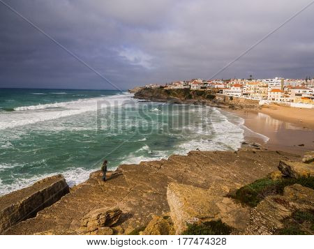 Praia das Macas (Apple Beach) in Colares Portugal on a stormy day.