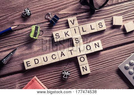 Wooden cubes spelling concepts of education knowledge mind and life balance