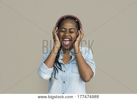 African Descent Girl Headphones Music