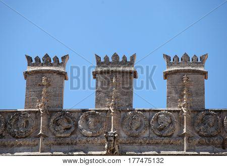 decoration detail of the exterior facade of the Old Silk Exchange(Lonja de la Seda)< Valencia Spain UNESCO World Heritage Site