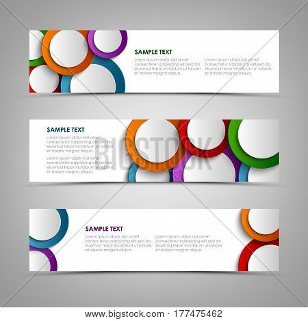 Collection white banners with colorful circles template vector eps 10