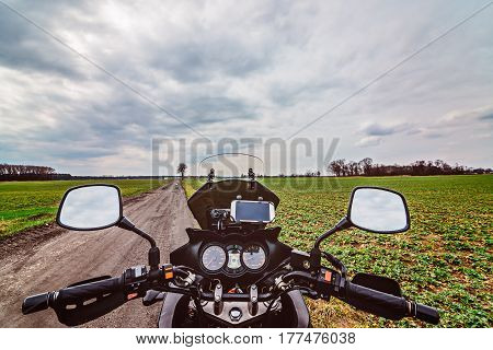Motorcycle Cockpit At The Dirt Road.