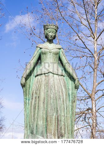 BEJA PORTUGAL - MARCH 03 2017: Statue of Eleanor of Viseu (Eleanor of Lancaster) the queen of Portugal in Beja.