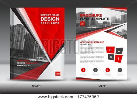 Red Color Scheme with City Background Business Book Cover Design Template in A4 Business Brochure flyer Annual Report polygon vector