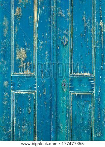 Old wooden green door in Mertola Portugal