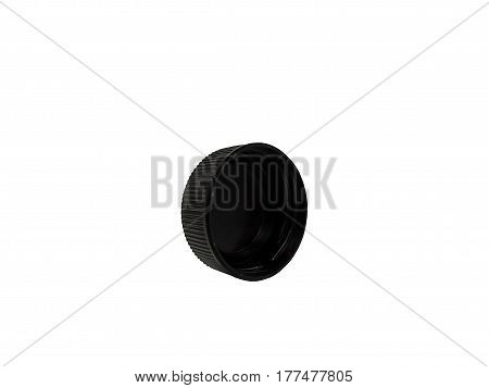 This is a photo of a plastic bottle cap,Black plastic bottle caps isolated on white background.