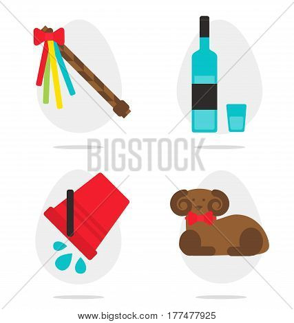 Traditional czech easter traditions and things flat vector style