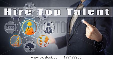Male recruitment coach in blue shirt and suit advising to Hire Top Talent. Human resources management metaphor and business strategy concept for attracting and converting top prospective candidates.