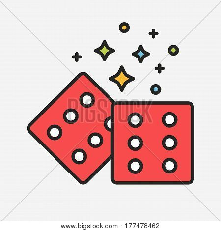 Magic red dices with sparks and stars line illustration style