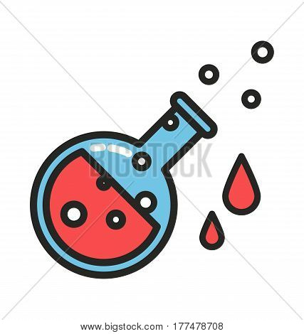 Red potion with drops and bubbles, line style vector
