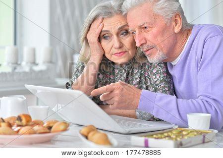 Beautiful elderly couple having breakfast with laptop