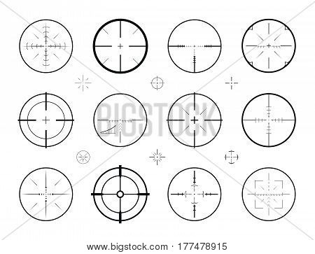 Target, sight sniper set of icons. Hunting, rifle scope, crosshair symbol. Vector illustration isolated on white background poster