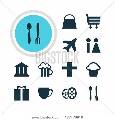 Vector Illustration Of 12 Location Icons. Editable Pack Of Coffee Shop, Beer Mug, Cafe And Other Elements.
