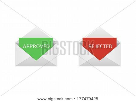 Approved and rejected. Envelopes with red and green letters
