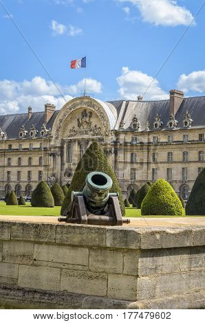 Paris France - April 18 2013: Ottoman Howitzer artillery gun at Les Invalides