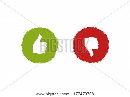 Thumb up and Thumb down symbols. Like and dislike labels