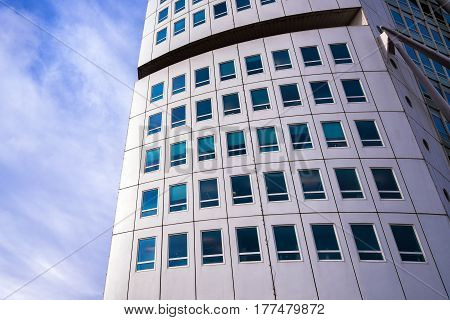 MALMO SWEDEN - MARCH 07 2017: Malmo Turning Torso detail. Each floor consists of an irregular pentagonal shape rotating around the vertical core.
