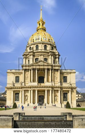 Paris France - April 18 2013: The National Residence of the Invalids and Army Museum - Les Invalides