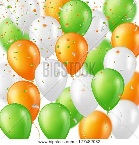Holiday background with glossy three colors balloons and confetti. Elements with blur effect. Vector illustration.