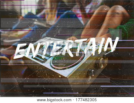 Entertainment word overlay young people