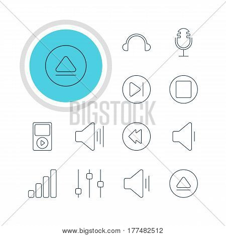 Vector Illustration Of 12 Melody Icons. Editable Pack Of Stabilizer, Earphone, Mike And Other Elements.