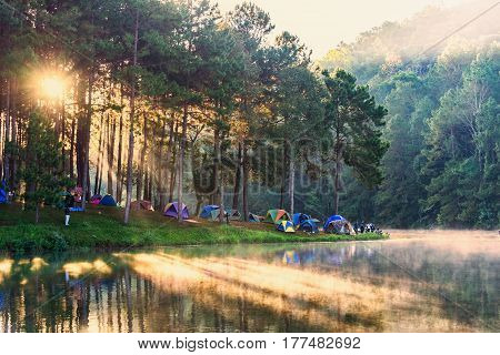 Morning at Pang Ung lake Pang Ung Mae Hong Son province North of thailand