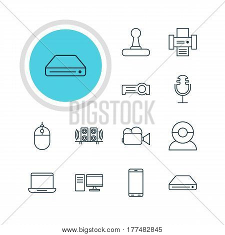 Vector Illustration Of 12 Gadget Icons. Editable Pack Of Sound Recording, Video Chat, Game Controller And Other Elements.