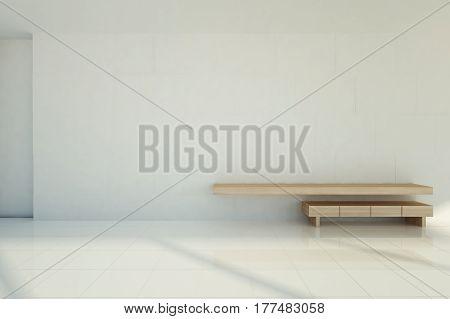 White tile wall modern wooden table with white tile floor living room - 3D rendering