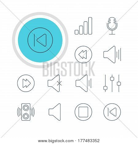 Vector Illustration Of 12 Melody Icons. Editable Pack Of Acoustic, Speaker, Amplifier And Other Elements.