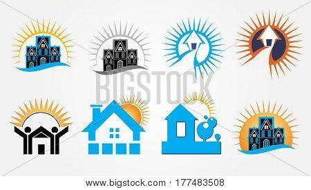Sunrise building style Real Estate Logo Design shape