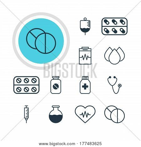Vector Illustration Of 12 Health Icons. Editable Pack Of Treatment, Aspirin, Antibody And Other Elements.