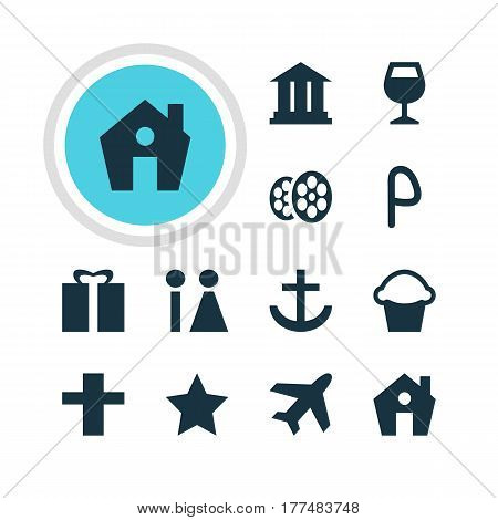 Vector Illustration Of 12 Check-In Icons. Editable Pack Of Film, Anchor, Present And Other Elements.