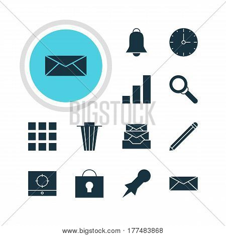 Vector Illustration Of 12 Online Icons. Editable Pack Of Pen, Notification, Increase Chart And Other Elements.