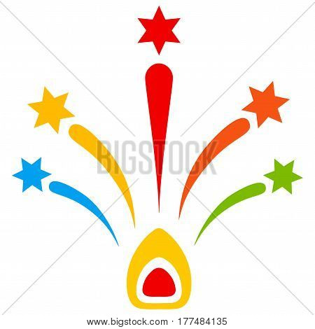 Colored fireworks with stars flat vector illustration.