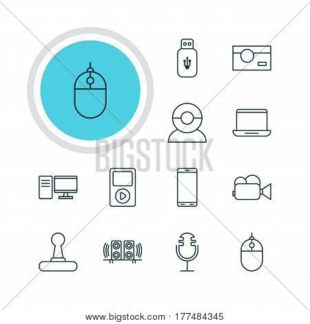 Vector Illustration Of 12 Accessory Icons. Editable Pack Of PC, Video Chat, Sound Recording And Other Elements.
