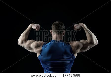 Handsome Bodybuilder Man With Muscular Body Training In Gym
