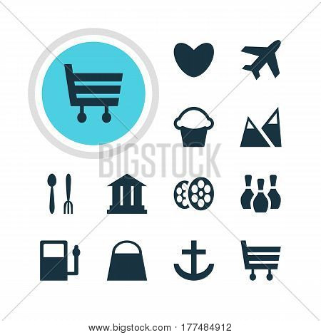 Vector Illustration Of 12 Check-In Icons. Editable Pack Of Skittles, University, Cake And Other Elements.
