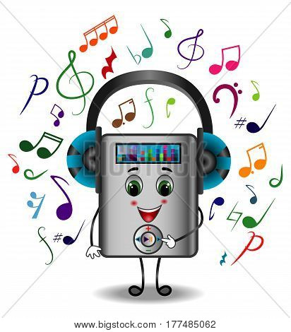 MP3 Player Character with Headphones Listening to Music, Musical Symbols, Hand Drawn, Vector Illustration EPS