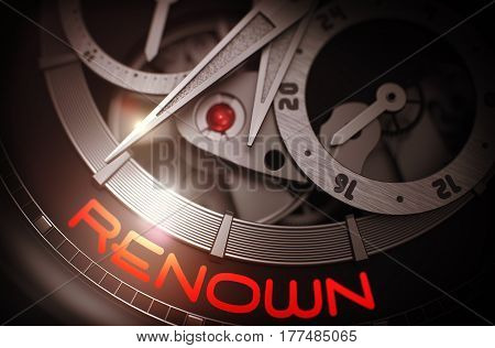 Renown on Elegant Wristwatch, Chronograph Close-Up. Renown on Face of Automatic Wrist Watch, Chronograph Close-Up. Business and Work Concept with Lens Flare. 3D Rendering.