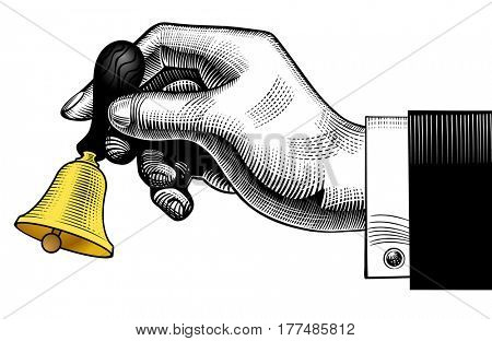 Hand ringing retro bell. Vintage engraving stylized drawing