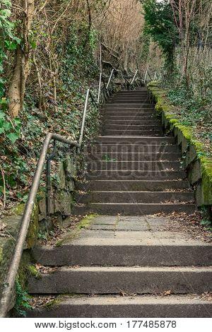 Long Curving Alley Staircase Outdoors Plants Tight Steep Handrail Blauer Weg Stuttgart