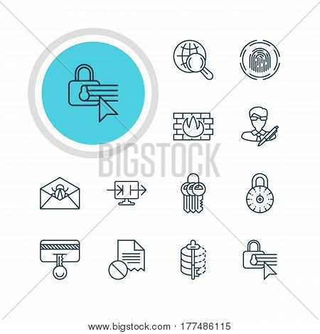 Vector Illustration Of 12 Data Icons. Editable Pack Of Key Collection, Internet Surfing, Safety Key And Other Elements.
