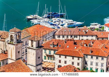 Kotor Montenegro. Bay of Kotor bay is one of the most beautiful places on Adriatic Sea it boasts the preserved Venetian fortress old tiny villages medieval towns and scenic mountains.