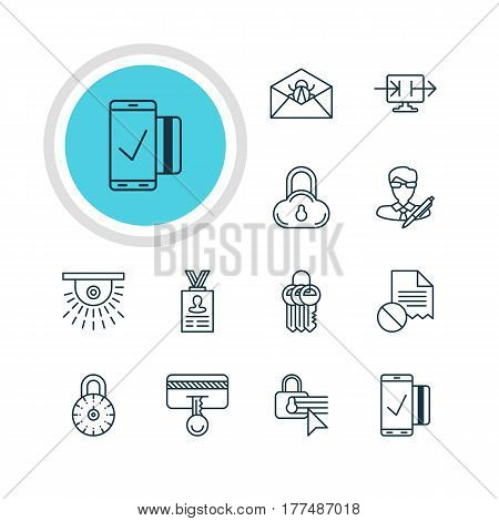 Vector Illustration Of 12 Data Protection Icons. Editable Pack Of Camera, Easy Payment, Copyright And Other Elements.